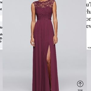 Long Bridesmaid Dress with Lace Bodice size 14